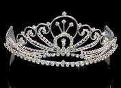Silver with Crystals Tiara for Wedding, Prom, Pageant, Quinceañera or Other Special Events.