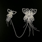 Rhinestone Bridal Linked Butterfly Decorative Comb Set with Tassels