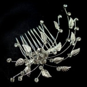 Bridal Wedding Beautiful Elegant Crystal Handmade Daisy and Leaves Hair Comb