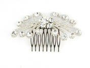 Elegant Daisy Flower Burst Clear Bridal Crystal Rhinestone Head Piece Hair Comb