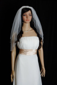 Bridal Veil Wedding Bride Two Tier White Elbow 63.5cm x 76.2cm Crystal Bungle Beaded Trim