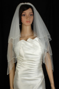 Bridal Veil Wedding 2T White Fingertip Scalloped Teardrop Crystal Beaded Edge