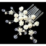 Bridal Wedding Beautiful Elegant Crystal Flowers Hair Comb with Pearls