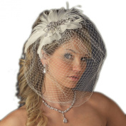 Olga Vintage Couture Feather Wedding Bridal Clip with Birdcage Veil - Ivory