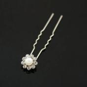 Pearl and Rhinestone Bridal Hairpins [Pair]
