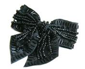 Black Beads Bow Hair pin