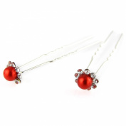 Ruby Red - Painted Faux Pearl - Crystal Cut Jewelled Petals - Double Prong - Hair Pin - 2 Piece Set