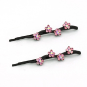 DoubleAccent Hair Jewellery Daisy Covered Bobby Pins in Crystal - Pair Pink Colour