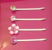 Silver Tone Pink Collection Bobby Pins with. Crystal - Set of 4