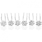 Rhinestone Small Flower Silver Tone Bridal Hair Pins