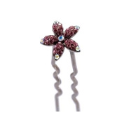 DoubleAccent Hair Jewellery Small Crystal Daisy Bun Stick Pink Colour