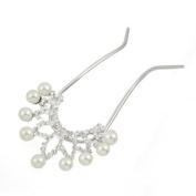Czech Rhinestone & Pearl 2-Prong Bridal Hair Stick Fork