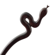 CrystalMood Handmade Carved Wood Hair Stick Snake Ebony
