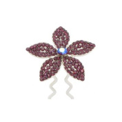 DoubleAccent Hair Jewellery Five Petal Flower Bun Stick in Crystal Purple Colour