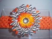 Orange Black White Zebra Jewel Gerbera Daisy Flower Pink Crochet Headband Gerber - Girls Child Baby Toddler Apparel Head Hair Band Bow Bows Girl Soft Infant Youth Accessory
