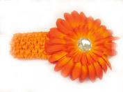 7.6cm 1 Orange 3.8cm Stretch Soft Crochet Headband With 10.2cm Large Gerbera Daisy Flower Hair Clip For Baby Girls