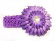 7.6cm 1 Purple 3.8cm Stretch Soft Crochet Headband With 10.2cm Large Gerbera Daisy Flower Hair Clip For Baby Girls