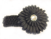 7.6cm 1 Black 3.8cm Stretch Soft Crochet Headband With 10.2cm Large Gerbera Daisy Flower Hair Clip For Baby Girls