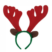 Como Christmas Xmas Reindeer Antler Design Red Green Felt Coated Hairband for Children