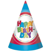 Happy Birthday Boy Cone Hats 8ct