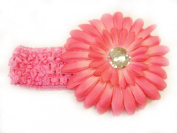 7.6cm 1 Pink 3.8cm Stretch Soft Crochet Headband With 10.2cm Large Gerbera Daisy Flower Hair Clip For Baby Girls
