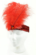 Touch of Nature 71022 Feather/Sequin Stretch Headband Red