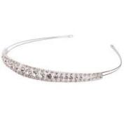 Decent Shining Two Rows Rhinestone Bridal Crown Headband