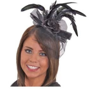 Black Flower Headband with Feathers