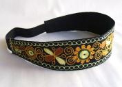 New Embroidery Stretch Black Gold Headband