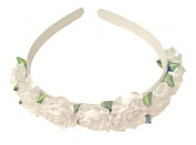 White Rose Flowered Headband