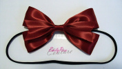 "Classy Red ""Snow White Inspired"" Shiny Satin Double Ribbon Hair Bow Headband"