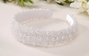 Darice V35231-01 Pearl Beaded Bridal Headband, White, 2.5cm