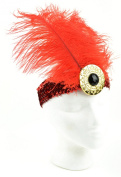 Touch of Nature 71035 Feather/Sequin Stretch Headband Embellishment, Red