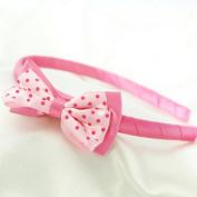 Polka Dot Bow Headband for Girls - Hot Pink