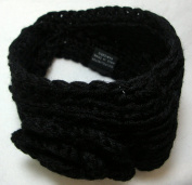 Black Knit Ear Warmer Winter Headband with Flower