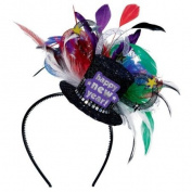 Deluxe Jewel Tone Happy New Year Feathered Headband