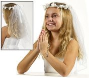 Girls Floral Crown First Communion Veil Catholic Christian Religious Head Band