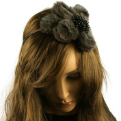Big Fuzzy Flower Bow Sequins Satin Headband HeadPiece Fascinator Cocktail