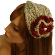 Winter Knit Floral Pearl Hat Cap Fascinator Headband HeadPiece Cocktail