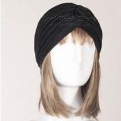 New Women Gathered Knot Pleated Rib Design Turban Headband Head Band Hat Holder, Black