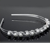 White Pearl Hair Band Wedding Bridal Tiara Crystal Crown Prom Party T1016