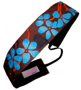 "RazzyRoo Headbands ""Southern Bloom"" Brown & Blue 3.8cm Wide Non-Slip Headband"