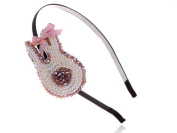 Metal Girly Pink Cream Faux Pearl Bead Bunny Rabbit Accent Headband Hair Piece