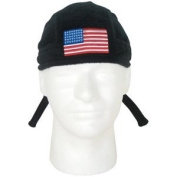 USA Flag Black Fleece Embroidered Headwrap