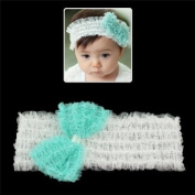 Girls White Wide Stretch Headband with Blue Bow
