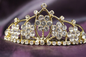 Beautiful Gold Bridal Wedding Flower Tiara Crown with Crystal Party Accessories DH15764