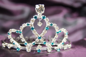 Beautiful New Bridal Wedding Tiara Crown OceanBlue With Leaf Crystal DH14857