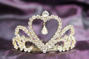 New Beautiful Bridal Wedding Gold Tiara Crown in With Leaf Crystal Heart DH13522