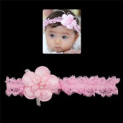 Girls Lace Stretch Headband with Flower and Pearls Pink