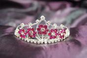 New Beautiful Bridal Wedding Flower Tiara Crown with Hot Pink Crystal DH15764c